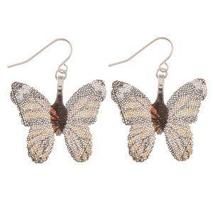 Orange & Black Butterfly Filigree Earrings